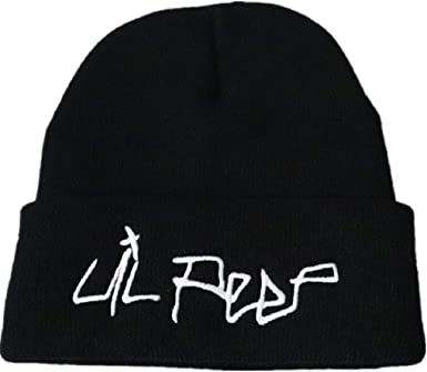 CREPUSCOLO LIL PEEP Beanie Embroidered Knitted Hat Kids Cuffed Plain Cap Unisex Gift for Fans