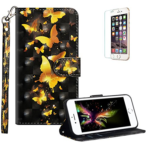 funyye-strap-flip-cover-for-iphone-7stylish-3d-gold-butterfly-design-magnetic-folio-wallet-leather-case-with-credit-card-holder-slots-shockproof-kickstand-protective-soft-silicone-case-for-iphone-78