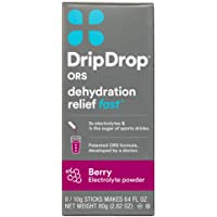 DripDrop ORS – Patented Electrolyte Powder for Dehydration Relief Fast - For Workout, Hangover, Illness, Sweating & Travel Recovery - Berry - 8 x 10g Servings, Pack of 1