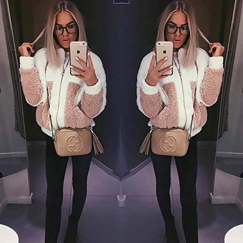 Manteau Manteaux Pink Couleur Chaud Blanc Hiver Peluche Femme Blouson Zipper Veste Style Rue ShallGood Casual Mode Unie De YqgfZwxnT1