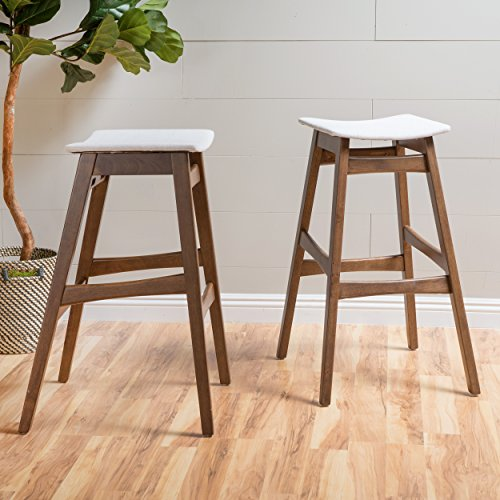 Christopher Knight Home 298983 Oster Mid-Century Natural Beige Fabric/Walnut Finish Bar Stool (Set of 2), Light