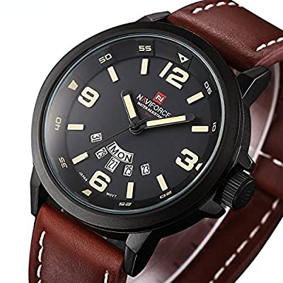 Men's Unique Analog Quartz Classic Business Casual Waterproof Dress Wrist Fashion Watch with Brown Leather Band and Calendar Date Week Window - Black