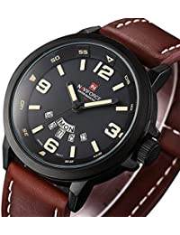 Men's Unique Analog Quartz Classic Business Casual Waterproof Dress Wrist Fashion Watch with Brown Leather Band...