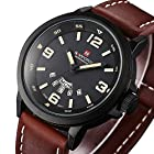Men's Fashion Dress Wrist Watch with Brown Leather Band Unique Casual Analog Quartz Watches Classic Business Waterproof Wristwatch Calendar Date Week – Black