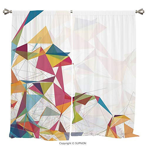 Rod Pocket Curtain Panel Thermal Insulated Blackout Curtains for Bedroom Living Room Dorm Kitchen Cafe/2 Curtain Panels/55 x 39 Inch/Abstract,Futuristic Design Mesh with Triangles Circles Lines Fracta