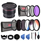 Beschoi 20 in 1 58mm UV Protection Lens Filter Kit (UV + CPL + FLD + ND2 + ND4 + ND8,Graduated Color Orange,Blue,Gray) 9pcs Slim Lens Filters 0.35x Professional HD Wide Angle Fisheye for DSLR Camera