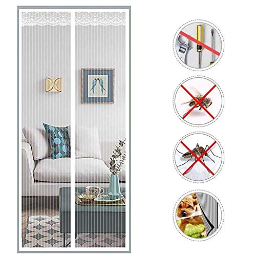 Magnetic Screen Door For Sliding Glass Door Patio, Heavy Duty Large Door Mesh For Sliding French Door, Front Door And Home Outside Kids/pets Walk Through Easily Fit Door,White,150x220cm(59x87inch)