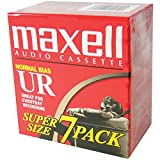 Maxell 108575 Optimally Designed for Voice Recording Brick Packs with Low Noise Surface - 90 Minute Audio Cassettes, 7 Tapes Per Pack