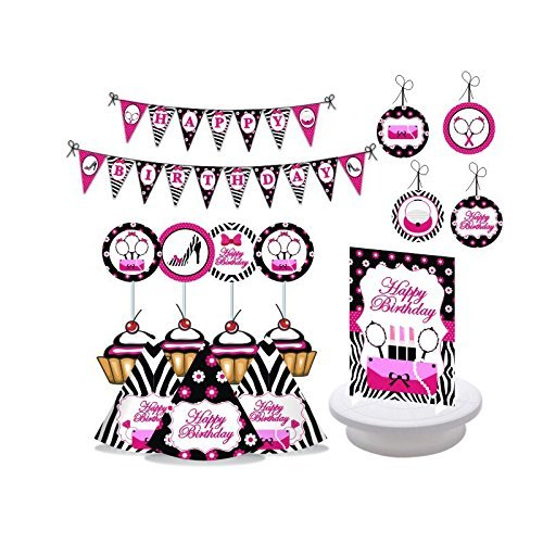 Diva Party. Glam Diva Birthday Party Decorations for Girls. Pink & Black Party. Diva Girl. Includes Party Hats, Centerpieces, Bunting Banner, Danglers and Cupcake Toppers.