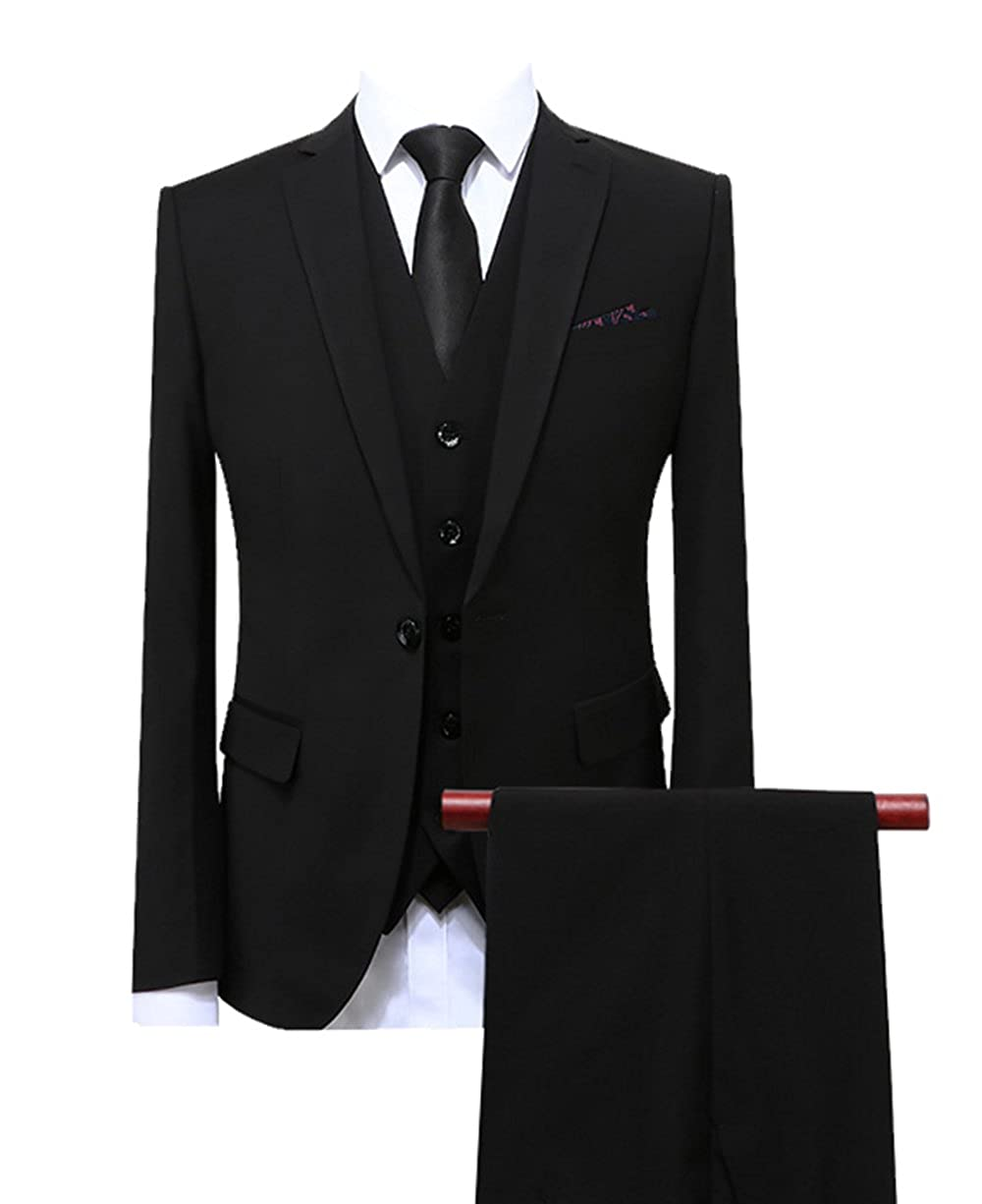 Fitty Lell Mens Suit 3-Piece Bridegroom Tuxedo Slim Fit Best Men Wedding Suit