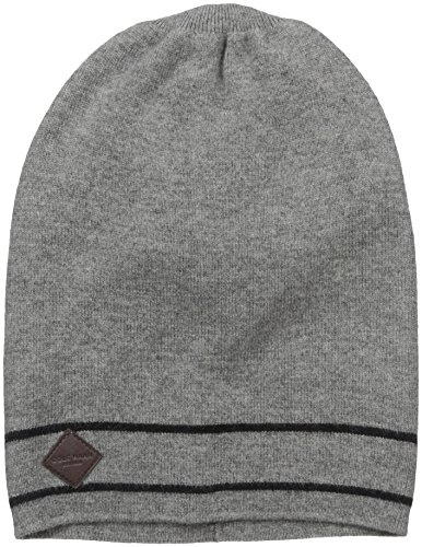 Cole Haan Men's Stripe Border Slouchy Beanie, Heather Grey, One Size