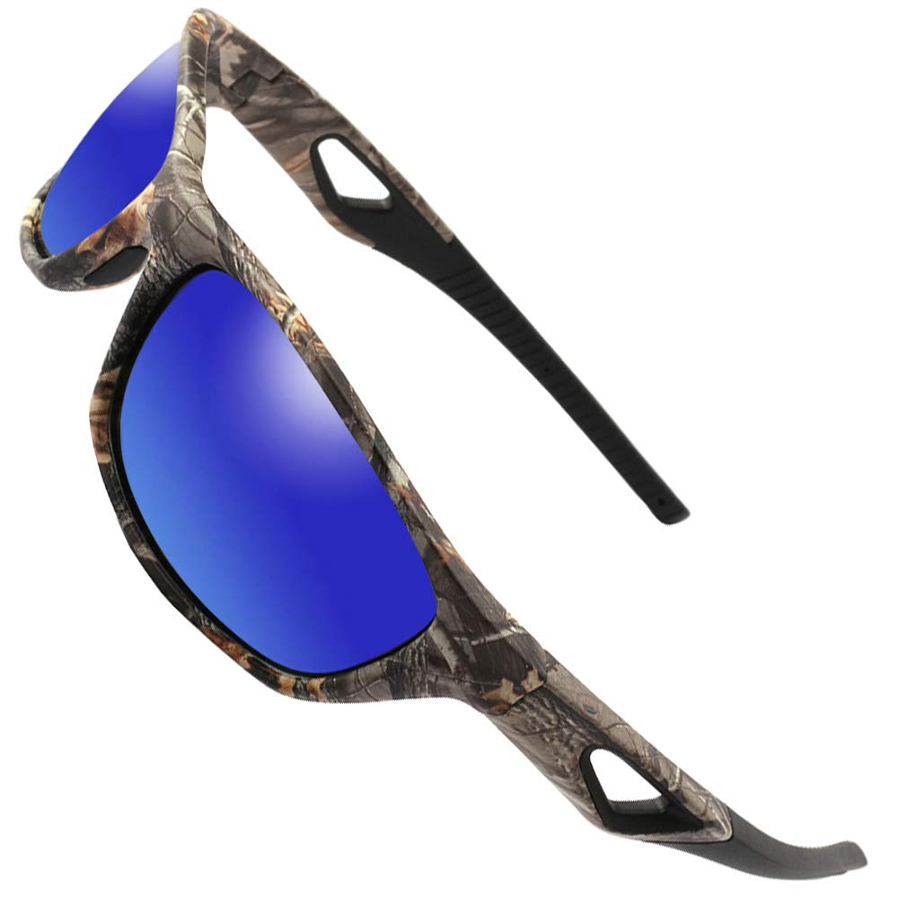 9bd91e758f Amazon.com   MOTELAN Polarized Outdoor Sports Sunglasses Tr90 Camo Frame  for Men Women Driving Fishing Hunting Reduce Glare (Black Blue (Upgraded))    Sports ...