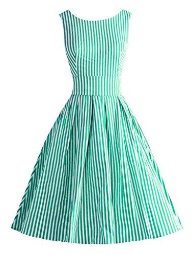 Abendkleid Rockabilly Jahr Gestreiften Vintage MUXILOVE Hepburn Cocktailkleid Stil Partykleid 50er Grün Kleid AqvzzT5