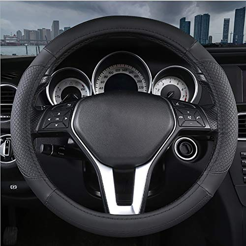 LMHX Non-Slip Car Steering Wheel Cover Leather, Steering Cover Four Seasons Universal Diameter 36-50 CM/14.2-19.7 Inch, Comfortable Wear Resistant for Truck, SUV, Cars, Black,42cm(16.5inch)