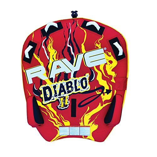 4 Inflatable Towable Tube - RAVE Sports 02318 Diablo II 2-Rider Towable