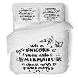 SanChic Duvet Cover Set Inscription Dance Fairies Ride Unicorn Swim Mermaids Chase Decorative Bedding Set with 2 Pillow Shams King Size