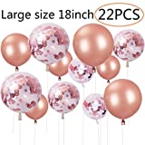 ZSNICE 22 Pack Rose Gold Party Balloons Huge Size 18inch Confetti Balloon, Quality Guaranteed Party Decorations Supplies Helium Balloons for Birthday, Baby Shower, Wedding, Engagement