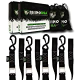 RHINO USA Motorcycle Tie Down Straps - Lab Tested 3,328lb Break Strength, Stainless Cambuckle Tiedown Set with Integrated Soft Loops - Better Than a Ratchet Strap… (4)