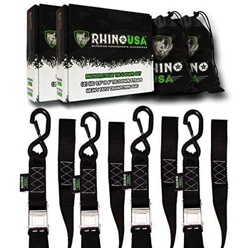 RHINO USA Motorcycle Tie Down Straps - Lab Tested 3,328lb Break Strength, Stainless Cambuckle Tiedown Set with Integrated Soft Loops - Better Than a Ratchet Strap… (4) by Rhino USA