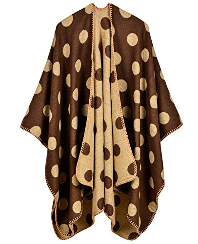 - LOHASCASA Women's Polka Dot Elegant Knitted Winter Warm Blanket Cashmere Cardigan Sweater Pashmina Shawl Poncho Cape Wrap Yellow and Brown