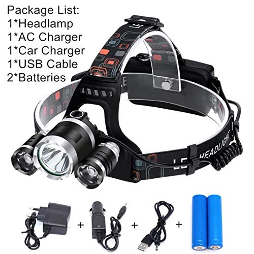 15000LM XML T6 LED Headlamp Head Lamp Light Powerful 18650 Rechargeable Flashlight Torch Lantern Waterproof For Fishing Hunting Option ()
