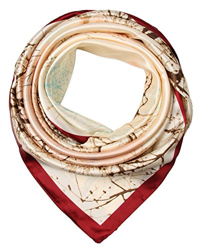 corciova Women's Large Satin Square Silk Feeling Hair Scarf 35 x 35 inches Trees Auburn and Floral White - Auburn Square