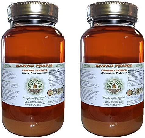 Chinese Licorice Alcohol-FREE Liquid Extract, Chinese Licorice Glycyrrhiza Uralensis Root Glycerite Herbal Supplement 2×32 oz