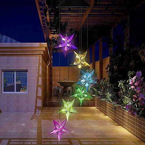 Solar Powered Wind Chime Lights, Outdoor Hanging Dream Star Shape, Waterproof LED Spinner Lamp Color Changing Night Lights for Home, Yard, Patio, Garden Decor (Blue) from Excursion Home
