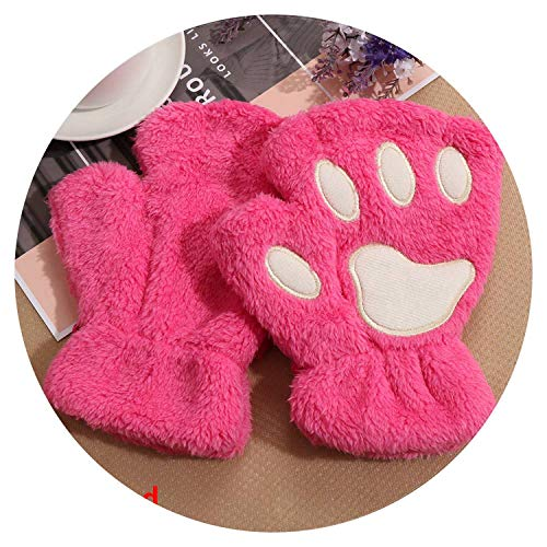 (1Pair Women Girls Lovely Winter Warm Fingerless Gloves Fluffy Bear Cat Plush Paw Claw Gloves,rose red)