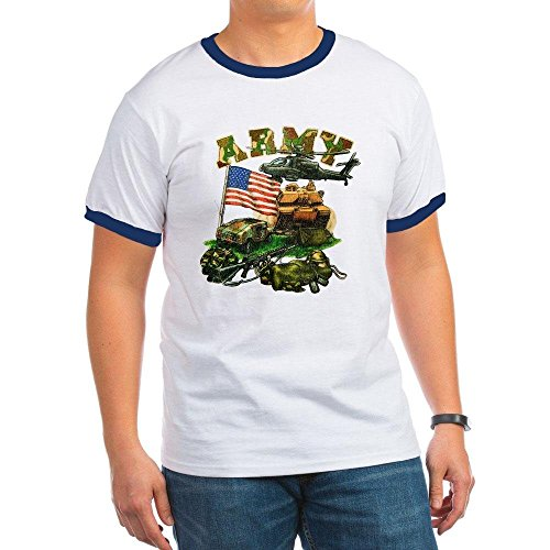 (Royal Lion Ringer T-Shirt Camouflage US Army Helicopter Tank - Navy/White, Large)