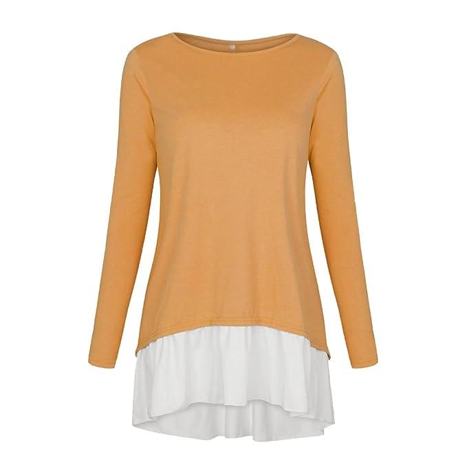 NiSeng Mujer Camisas Manga Larga Blusa Elegante Botones Costura Dobladillo Irregular T-Shirt Amarillo S