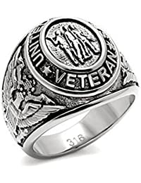 US Military Veteran Ring (Silver Color Steel) War Veteran Jewelry Military Rings for Army, Navy, Marines, Air Force, Coast Guard Officers Military