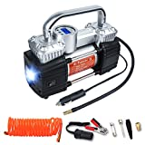 GSPSCN Portable Digital Car Tire Inflator with Gauge 150Psi Auto Shut-Off, Heavy Duty Double Cylinders 12V Air Compressor Pump with LED Light for Auto,Truck,Car,Bicycles and Other Inflatables