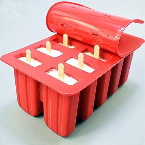 EDTara Ice Cream Mold Silicone Ice Cream Lolly Pop Maker Mould Popsicle Frozen,Ice Tray with Cover Lid,10 Cells by EDTara (Image #4)
