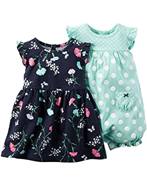 2 Piece Romper and Dress Set, Navy/Floral, New Born