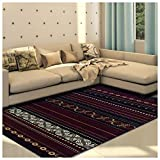 Superior Modern Twilight Collection Area Rug, 8mm Pile Height with Jute Backing, Contemporary Bohemian Stripe Pattern, Anti-Static, Water-Repellent Rugs, 5′ x 8′ Rug, Maroon