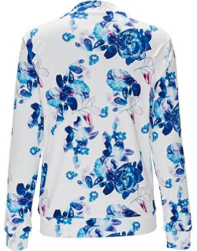 motifs C des fleurs Eudolah zippe bleu Veste Femme a motard Blouson court v60v8q