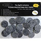 The BigPA Initiative Self Adhesive Felt Pads for Furniture Floor Scratch Protection Set of 24, Grey