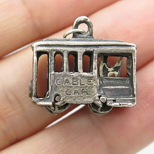 SF Signed Vintage 925 Sterling Silver Small Cable Car Charm by Wholesale Charms