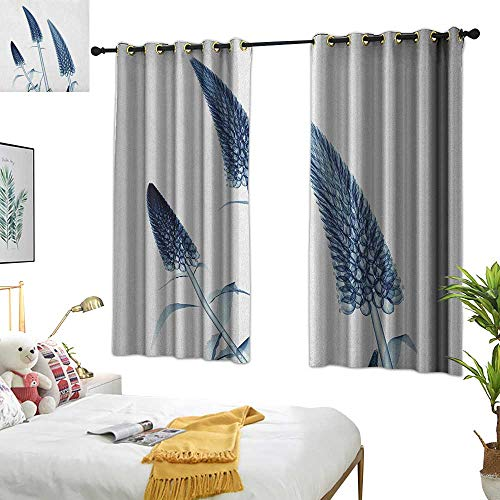 Warm Family Double Curtain Rod Flower,Gooseneck Loosestrife Flower X Rays Image Exotic Plants Blooms Artful Home Image, Teal White 84