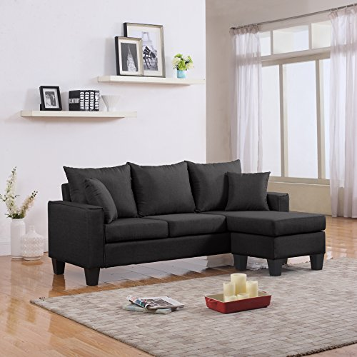 Divano Roma Furniture Modern Linen Fabric Small Space Sectional Sofa with Reversible Chaise (Dark Grey)