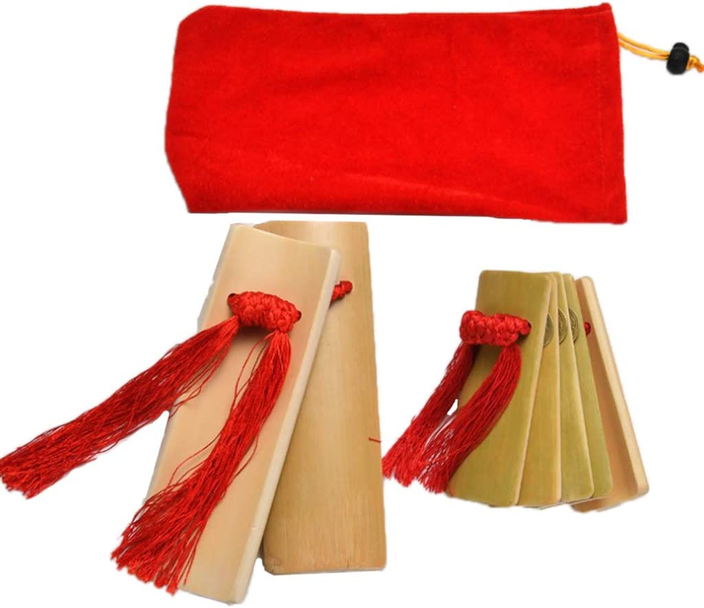 2 Pieces Bamboo Clappers Castanets Chinese Traditional Percussion Kuaiban