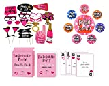 Bachelorette Party Games, Bridal Shower Party Supplies, Favors and Decorations, 120 Pcs Dare Card Game, 20 PCS Photo Props for Girls Night Out, 7 Party Pins