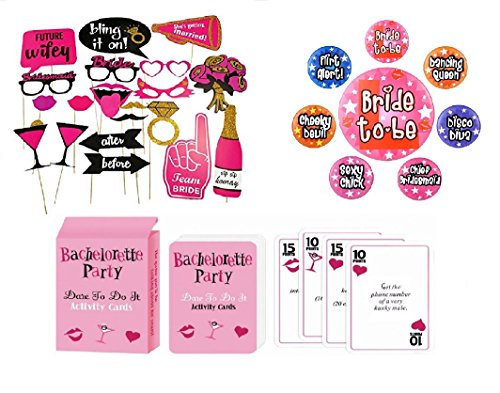 Bachelorette Party Games, Bridal Shower Party Supplies, Favors and Decorations, 120 Pcs Dare Card Game, 20 PCS Photo Props for Girls Night Out, 7 Party Pins by Azure