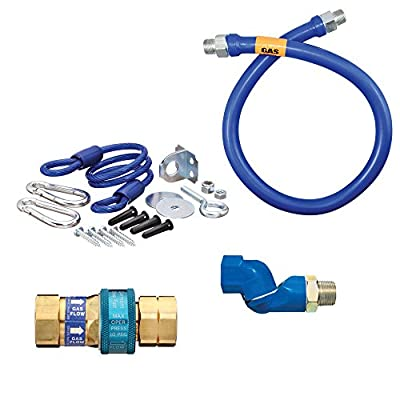 "Dormont 1675BPQSR36 SnapFast® 36"" Gas Connector Kit with One Swivel and Restraining Cable - 3/4"" Diameter"