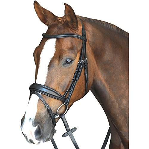 Crown Snaffle Bridle (Collegiate Mono Crown Padded Raised Flash Snaffle Bridle Full Size Black)