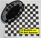 12 Black Plastic Oval Food/Burger Baskets plus 50 Checkered Deli Paper Liners. Restaurant/Food Tray Basket Sets for Barbecues, Picnics, Parties, Kids Meals, Outdoors. Black, White