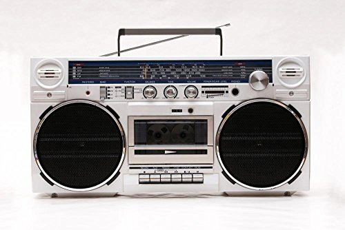 Wallmonkeys FOT-28003604-24 WM34680 1980s Style Stereo Cassette Recorder Ghettoblaster Peel and Stick Wall Decals (24 in W x 16 in H), Medium -