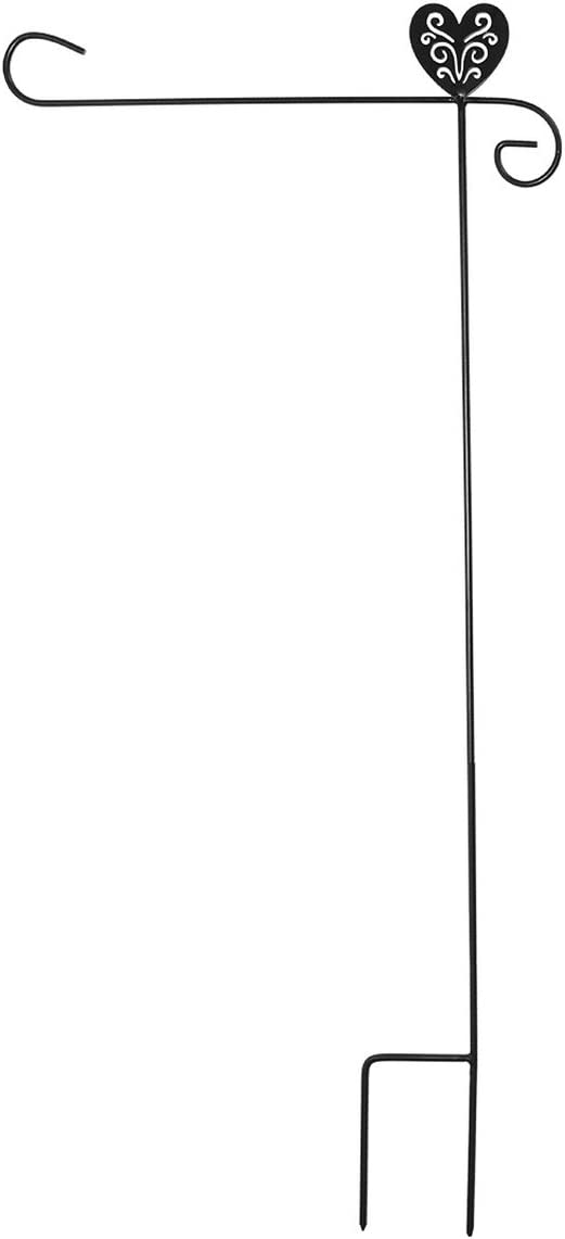 "Briarwood Lane Wrought Iron Heart Garden Flag Stand 40"" H"