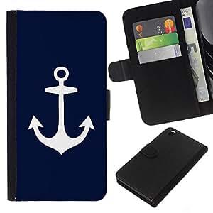 Stuss Case / Funda Carcasa PU de Cuero - Blue Anchor Marinero Marinero minimalista - HTC DESIRE 816